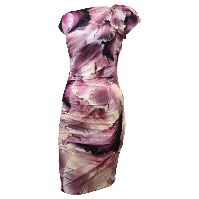 Roberto Cavalli Draped Dress with an Octopus Brooch (S) For Sale
