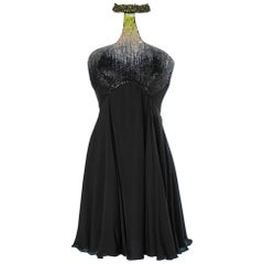 Roberto Cavalli dress in black chiffon with sequined top and beaded neckline