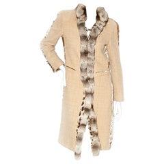 Roberto Cavalli Duster Coat with Fur Collar