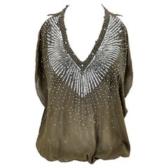 Roberto Cavalli Early 2000s Army Green Silk Chiffon Rhinestone Beaded Sheer Top