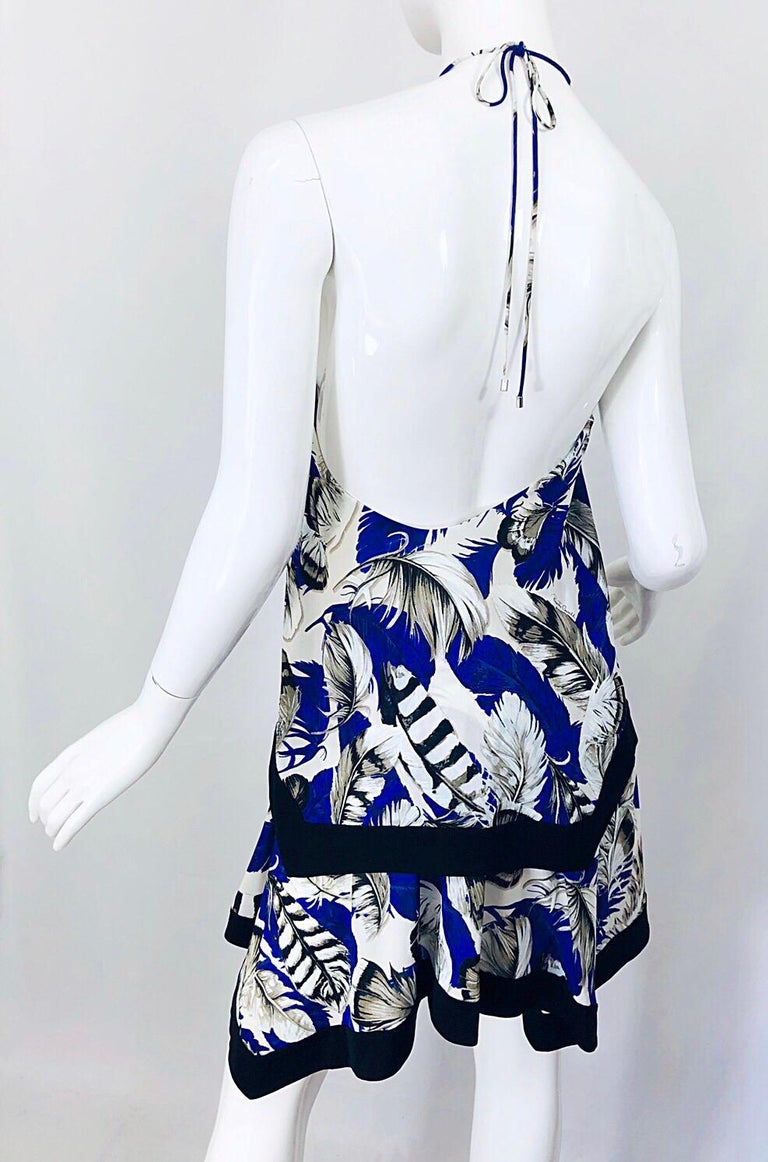 Women's ROBERTO CAVALLI Early 2000s Cobalt Blue Feathers + Rhinestone Handkerchief Dress For Sale