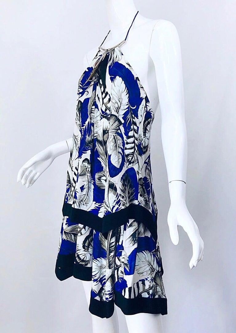 ROBERTO CAVALLI Early 2000s Cobalt Blue Feathers + Rhinestone Handkerchief Dress For Sale 1