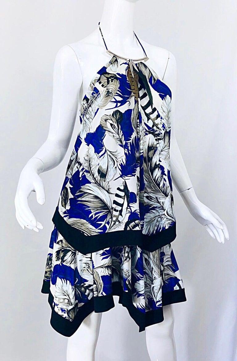 ROBERTO CAVALLI Early 2000s Cobalt Blue Feathers + Rhinestone Handkerchief Dress For Sale 3