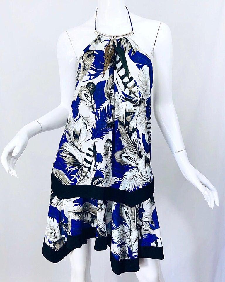 ROBERTO CAVALLI Early 2000s Cobalt Blue Feathers + Rhinestone Handkerchief Dress For Sale 4