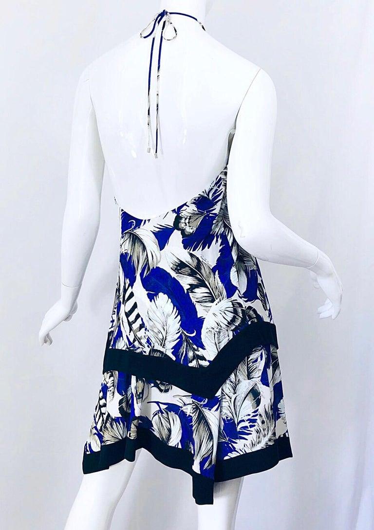ROBERTO CAVALLI Early 2000s Cobalt Blue Feathers + Rhinestone Handkerchief Dress For Sale 5