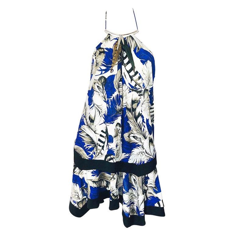 ROBERTO CAVALLI Early 2000s Cobalt Blue Feathers + Rhinestone Handkerchief Dress For Sale