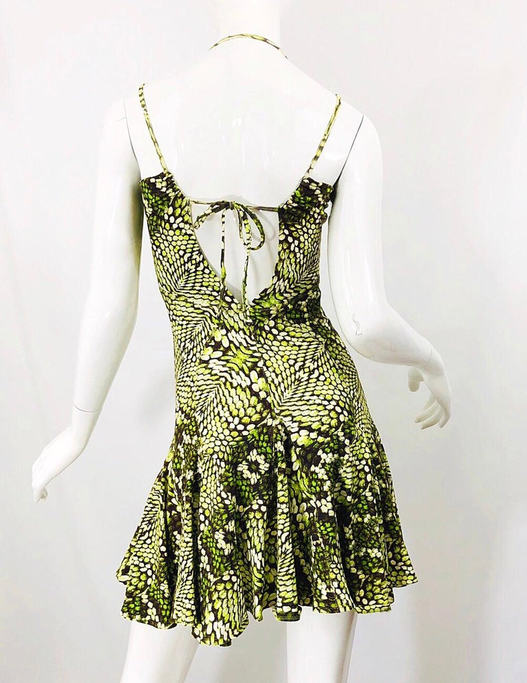Women's Roberto Cavalli Early 2000s Neon Green Reptile Print Sexy Cut - Out Mini Dress For Sale
