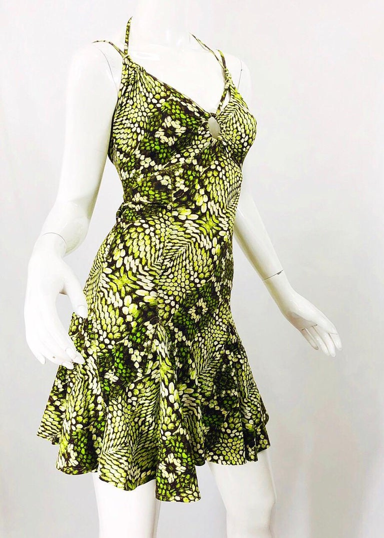 Roberto Cavalli Early 2000s Neon Green Reptile Print Sexy Cut - Out Mini Dress For Sale 1
