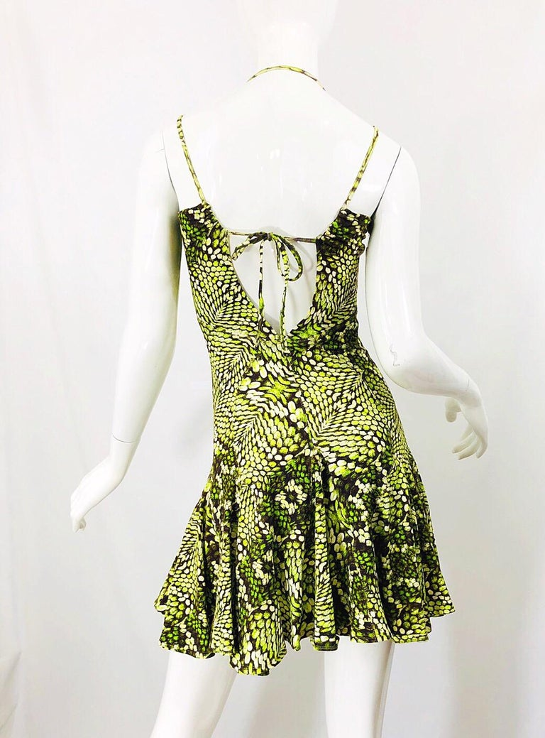 Roberto Cavalli Early 2000s Neon Green Reptile Print Sexy Cut - Out Mini Dress For Sale 4