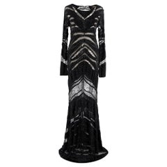 Roberto Cavalli Embroidered Black Lace Paneled Gown - Size XS