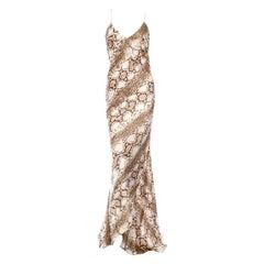 Roberto Cavalli Exotic Python Snake Printed Silk Evening Gown Maxi Dress