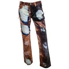 Roberto Cavalli F/W 2001 Distressed Tapestry Print Jeans