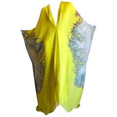 Roberto Cavalli Feather Print Yellow Silk Caftan Dress