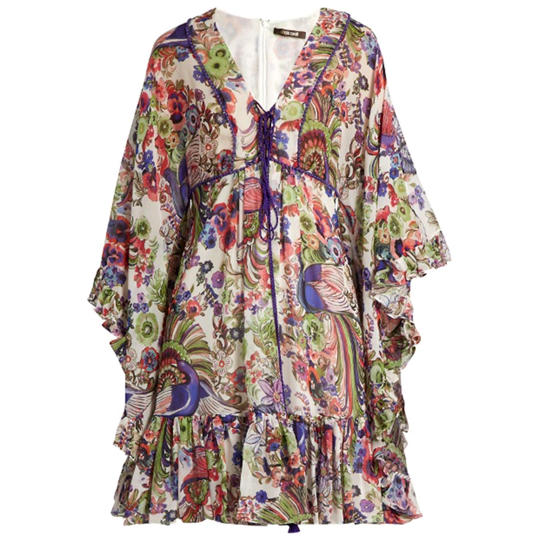 Roberto Cavalli Floral-Print Ruffled Silk Dress