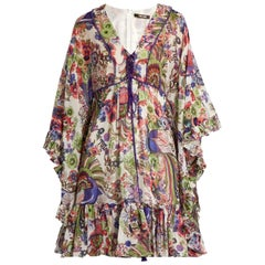 Roberto Cavalli Floral-Print Ruffled Silk Dress