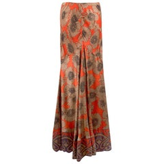 Roberto Cavalli Floral Printed Silk Fluted Maxi Skirt - Size US 8