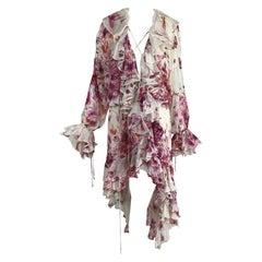Roberto Cavalli Floral Silk Plunge Neck Dip Hem Ruffle Gypsy Dress L