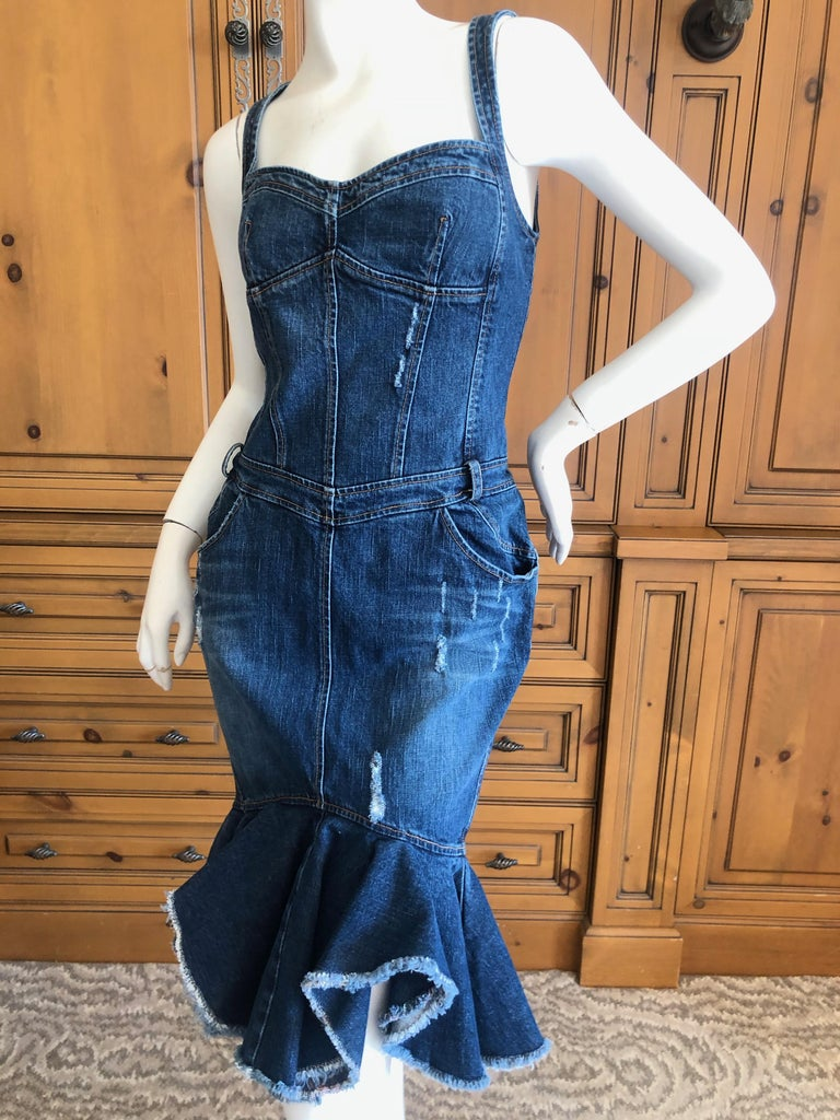 Roberto Cavalli for Just Cavalli Distressed Denim Dress with Flounce Hem So sweet, there is a lt of stretch. Size 44 Bust 34