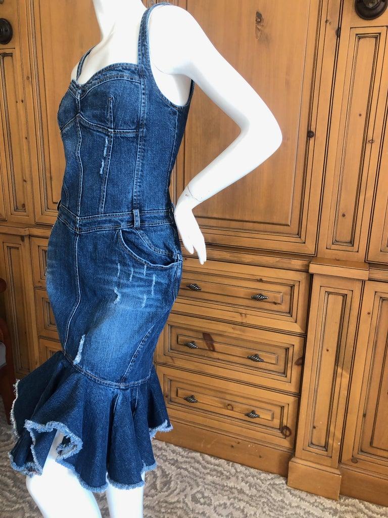 Blue Roberto Cavalli for Just Cavalli Distressed Denim Dress with Flounce Hem For Sale