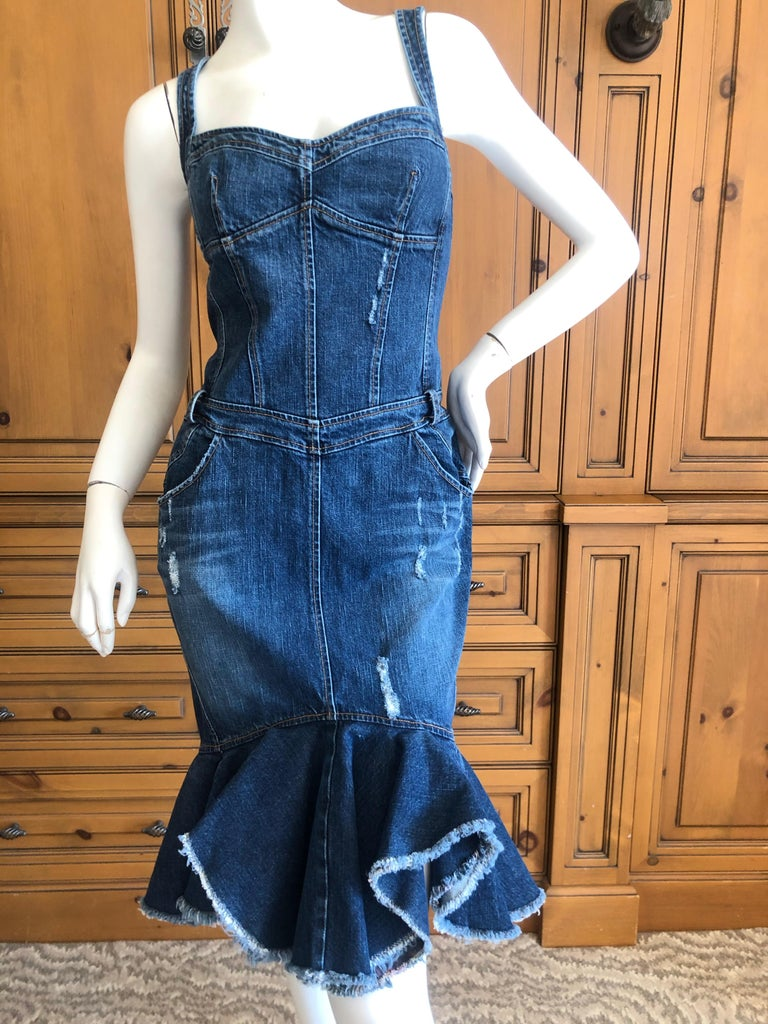 Roberto Cavalli for Just Cavalli Distressed Denim Dress with Flounce Hem In Excellent Condition For Sale In San Francisco, CA