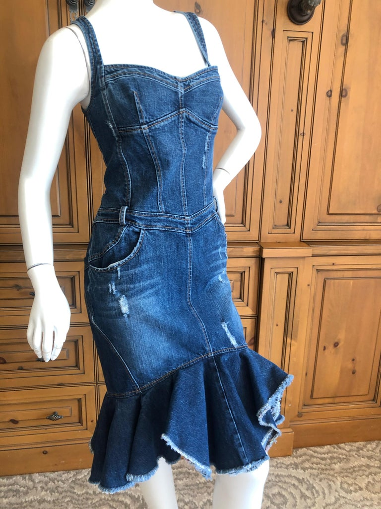 Women's or Men's Roberto Cavalli for Just Cavalli Distressed Denim Dress with Flounce Hem For Sale