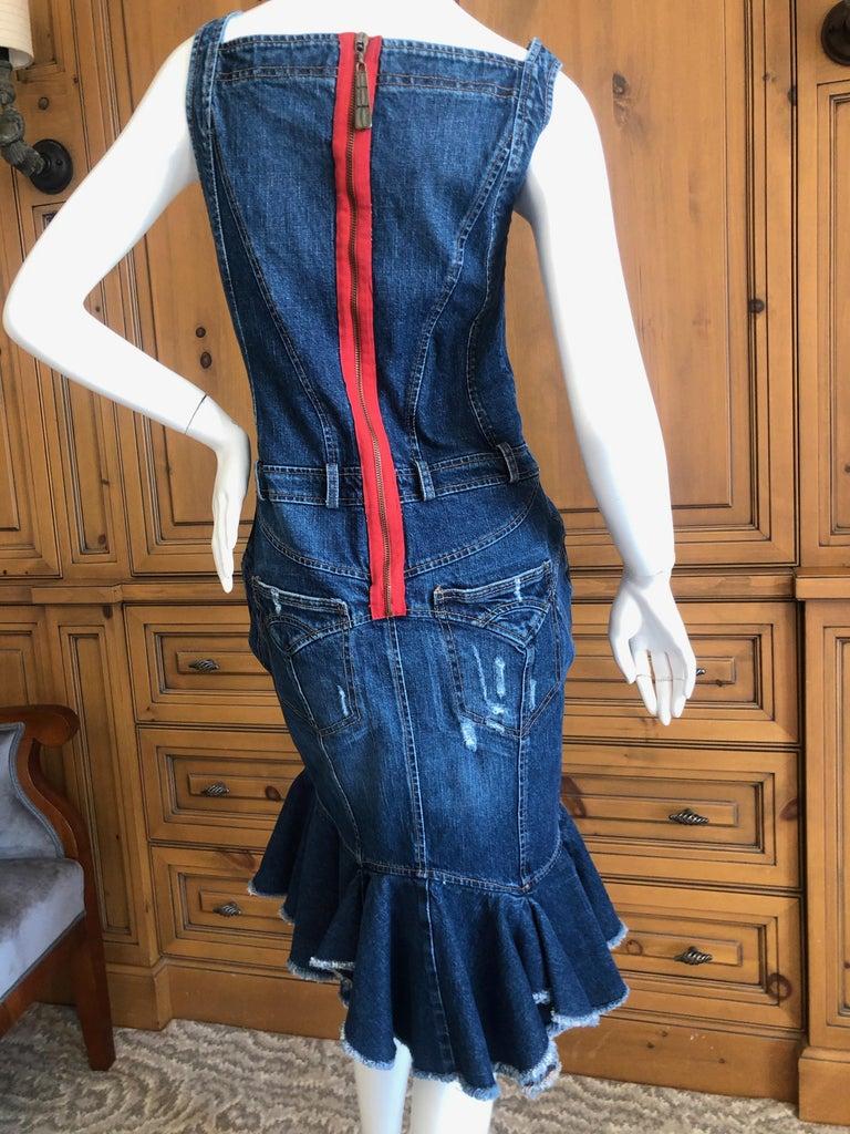Roberto Cavalli for Just Cavalli Distressed Denim Dress with Flounce Hem For Sale 1