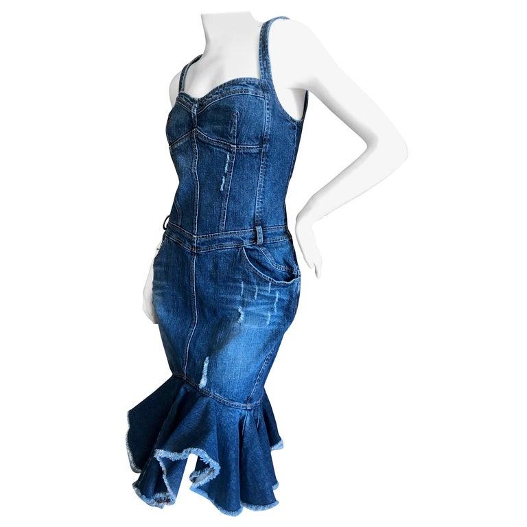 Roberto Cavalli for Just Cavalli Distressed Denim Dress with Flounce Hem For Sale