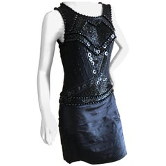 Roberto Cavalli for Just Cavalli Jet Embellished Vintage Black Silk Mini Dress