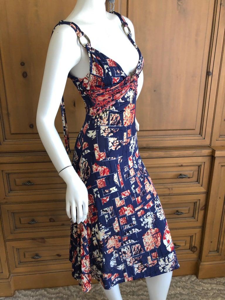 Roberto Cavalli for Just Cavalli Navy Blue Pattern Dress w Bronze Ring Details 1