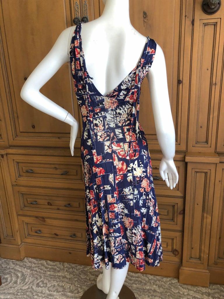 Roberto Cavalli for Just Cavalli Navy Blue Pattern Dress w Bronze Ring Details 2