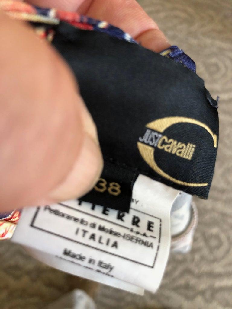 Roberto Cavalli for Just Cavalli Navy Blue Pattern Dress w Bronze Ring Details 3