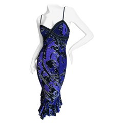 Roberto Cavalli for Just Cavalli Purple Ruffle Flounce Dress with Gold Stitching