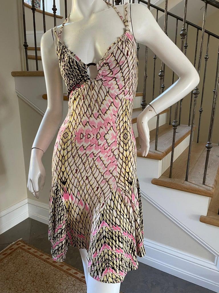 Brown Roberto Cavalli for Just Cavalli Reptile Print Mini Dress with Skater Skirt