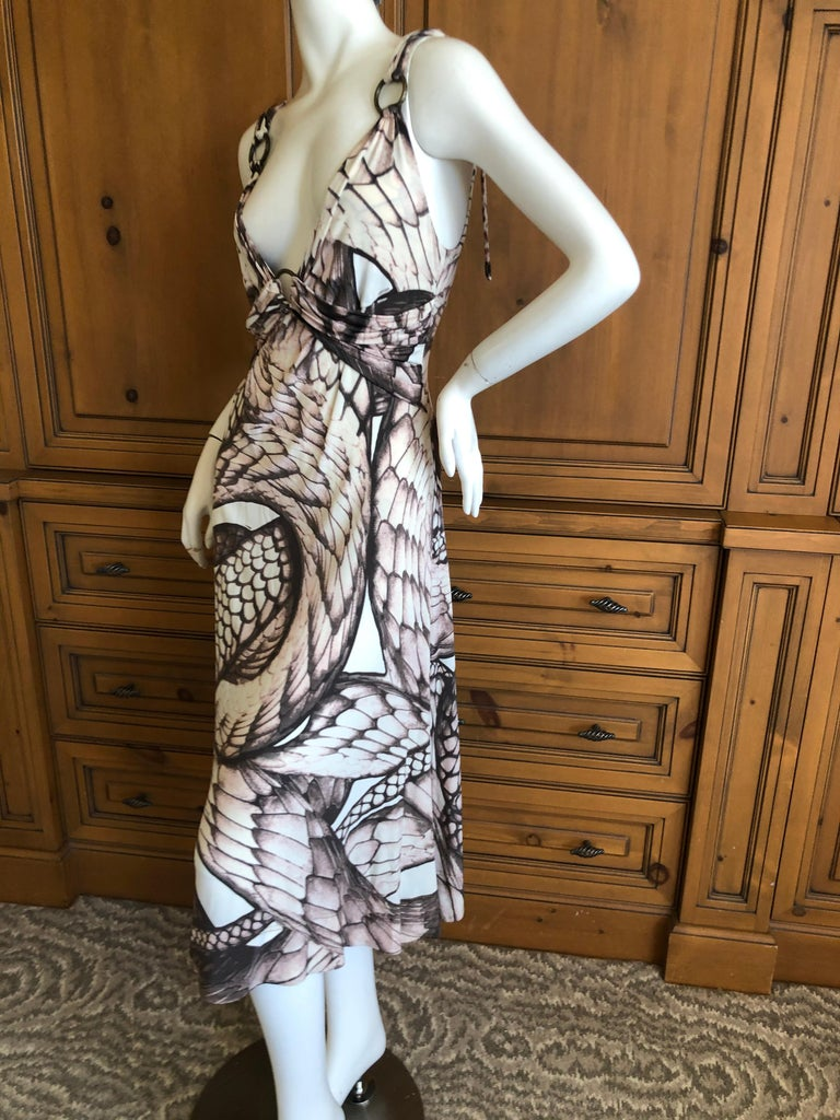 Roberto Cavalli for Just Cavalli Snake Print Dress with Brass Rings Sz 46 1