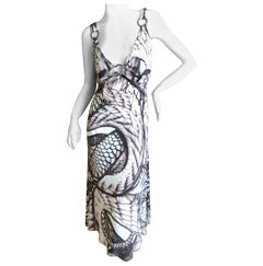 Roberto Cavalli for Just Cavalli Snake Print Dress with Brass Rings
