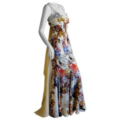 Roberto Cavalli for Just Cavalli  Vintage Butterfly & Floral Silk Evening Dress