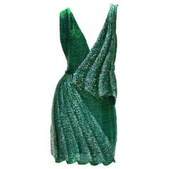 Roberto Cavalli Fully Beaded Mini Green Graphite Drape Illusion Plunging Dress