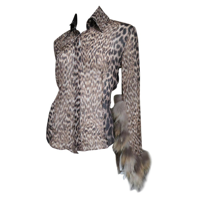 623e01e0e6406 Roberto Cavalli Fur Trimmed Leopard Silk Shirt For Sale at 1stdibs