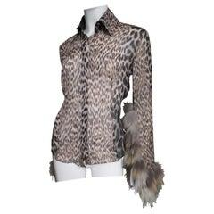 Roberto Cavalli Fur Trimmed Leopard Silk Shirt