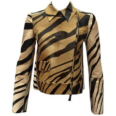 Roberto Cavalli Giraffe Print Ponyhair Moto Jacket