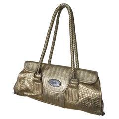 Roberto Cavalli Gold Baguette Bag