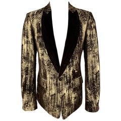 ROBERTO CAVALLI Gold & Brown Velvet Jacquard Shawl Collar Sport Coat