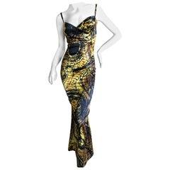 Roberto Cavalli Gold Reptile Print Evening Dress for Just Cavalli