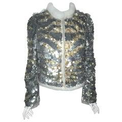 Roberto Cavalli Gold & Silver Tone Sequin Jacket Trimmed in Mink Fur 44 EU