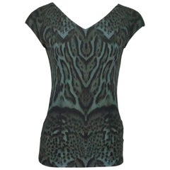 Roberto Cavalli Green Animal Print Sleeveless Top - 6