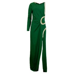Roberto Cavalli Green Asymmetric Gown w/ Embellished Snake Detail sz 10