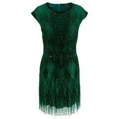 Roberto Cavalli Green Beaded Mini Dress US6