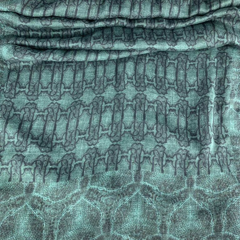 Men's ROBERTO CAVALLI Green Mixed SNake Print Cashmere Blend Scarf For Sale