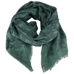 ROBERTO CAVALLI Green Mixed SNake Print Cashmere Blend Scarf
