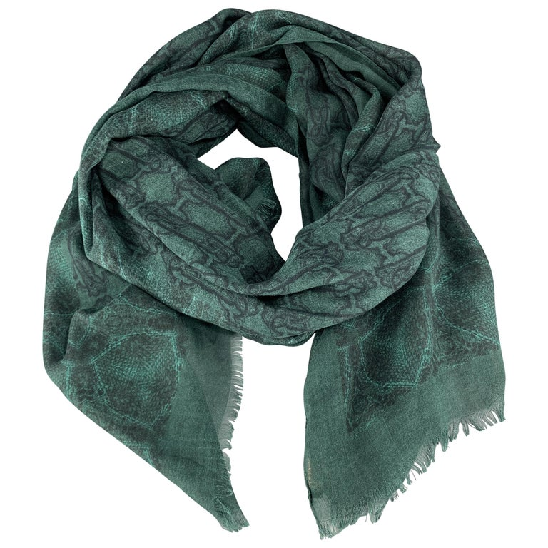 ROBERTO CAVALLI Green Mixed SNake Print Cashmere Blend Scarf For Sale
